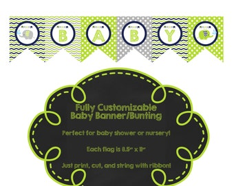 CUSTOMIZABLE Elephant Banner/Bunting for Baby Shower - Choose your wording and colors!