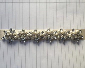 Silver Diamante Rhinestone Flower ' Stephanosis ' Pearl and Marquise Crystal Bridal Belt