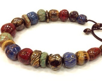 Porcelain necklace/ceramic beads/red/green/blue/dark gold/sienna/ jewelry/made to order