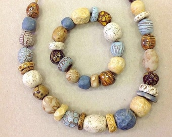 Porcelain necklace/ceramic beads/blue/brown/ white/sienna/ jewelry/made to order