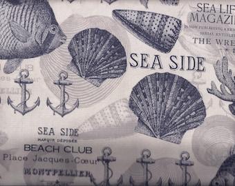 Seaside Nautical Grey Blue Curtain Valance
