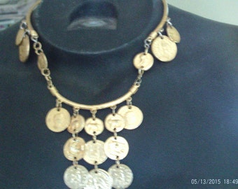 Vintage Gold Coin Clasp Necklace