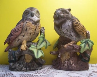 Pair of Bisque Owls Sitting on a Branch Figurines
