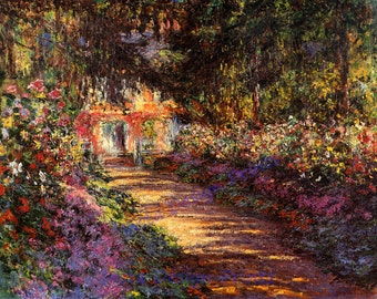 "Claude Monte  ""Pathway in Monet's Garden at Giverny"""" 1902 Reproduction Digital Print Garden Pathway Beautiful Flowers Wall Hanging"