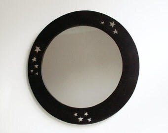 "Wall Mirror, 18"" Handmade Mirror, Moon Mirror, Star Mirror, Moon and Stars, Decorative Wall Mirror, Black Mirror, Round Mirror, Satin Black"