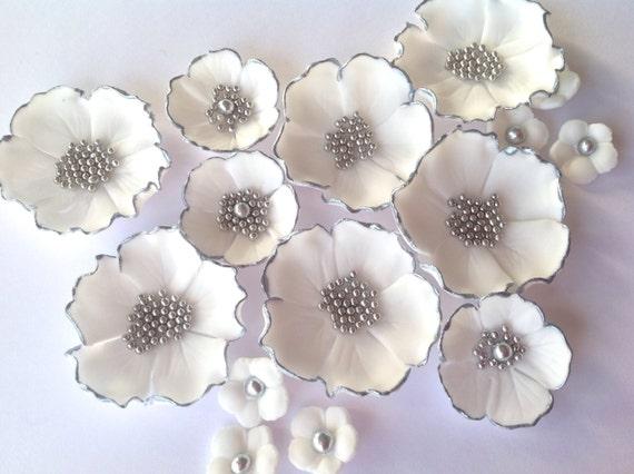 15 essbaren Silber, goldene Hochzeitstorte Blumen gemalt inc 9 mit ...