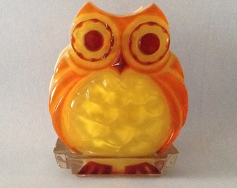 SALE Vintage Lucite Gamut Owl Napkin Letter Holder Orange Yellow and Red
