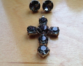 Swarovski black diamond cross pendant with stud earrings