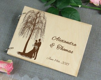 Unique personalized Wedding-Anniversary-Bridal shower guest book, Custom gift, Memory album, Laser engraved, Rustic theme, Wedding decor.