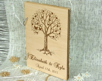 Unique personalized Wedding-Anniversary-Bridal shower guest book, Custom gift, Gift for couple, Memory album, Laser engraved, Rustic