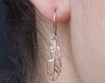 Small Feather Dangle Earrings, 14K Yellow Gold Plated Earrings