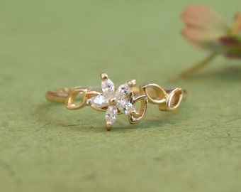 CZ Flower on Leaves Branch Ring, 14K Yellow Gold Plated Ring