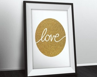 Love printable wall art, gold love print, instant download, wall decor, love poster, typographic poster, love printabale, gold foil design