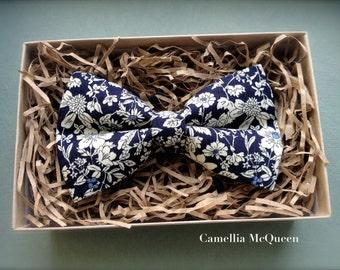 Men's bow tie, boys' bow tie, navy floral bow tie