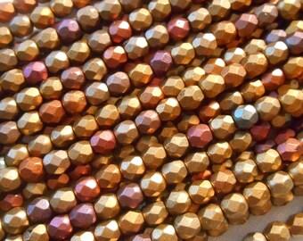50 4mm Czech Matte Metallic Gold Copper Iris glass beads, round faceted firepolished beads, C41150