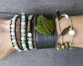 Green Ivory Bronze Jade Leaf Beaded Hemp Charms Wrap Upcycled Black Leather Cuff Bracelet Stacking Set