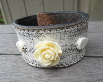 Women's Ivory Cream Roses Leaves Beads Distressed Upcycled Leather Cuff Bracelet