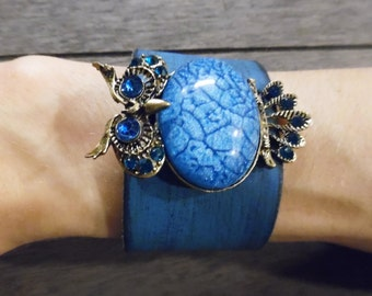 Turquoise Aqua Blue Bronze Owl Pendant Up-Cycled Distressed Black Leather Cuff Bracelet