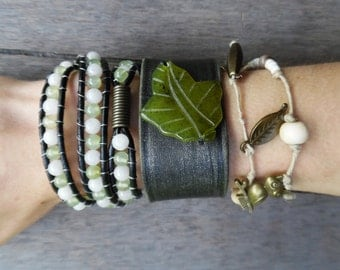 Green Ivory Bronze Jade Leaf Beaded Hemp Charms Wrap Upcycled Black Leather Cuff Bracelet Stacking Set