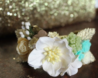 Vintage Inspired Cuff, resin, creams, brass, golds, mint greens