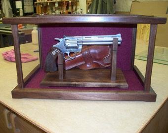 Pistol/Gun Display Case Wood and Glass - Walnut (Maple, Cherry, Oak, Pine, Mahogany Options Available