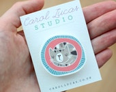 Cat Brooch / Badge - Jewellery / Illustration / Hand Drawn / Cute