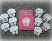 Cupcake Number Matching Game with Personalized Pouch - Embroidered Learning Set