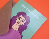 Kate Bush Birthday Greetings Card From Full Colour Original Illustration Funny Humour Pun Lyrics Song Music Musician Singer 70s 80s Icon