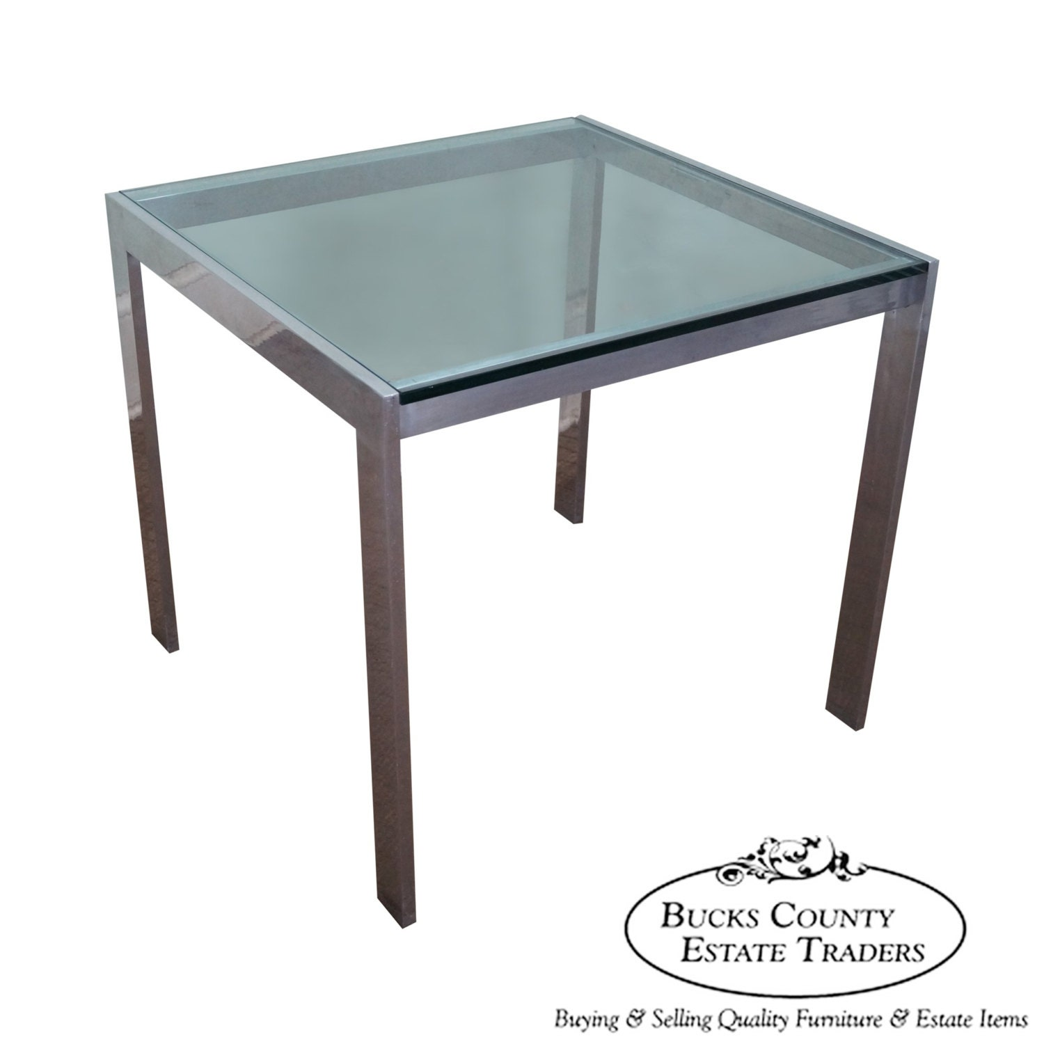 mid century modern aluminum square glass top dining table. Black Bedroom Furniture Sets. Home Design Ideas
