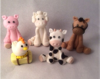Fondant Farm Animal Toppers Horse Cow Chicken Pig Sheep