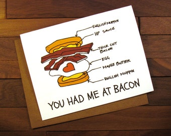 You Had Me at Bacon Funny Valentine Card with Recipe