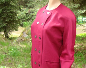 "1980s British Designer ""Windsmoor"" Burgundy Suit - Size 14"