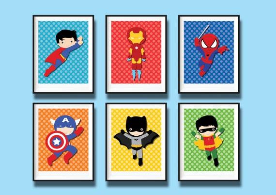 6x superhero wall art printables boys nursery by for Room decor printables