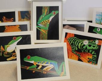 Frog Greeting cards, Frog art paintings. original frog art