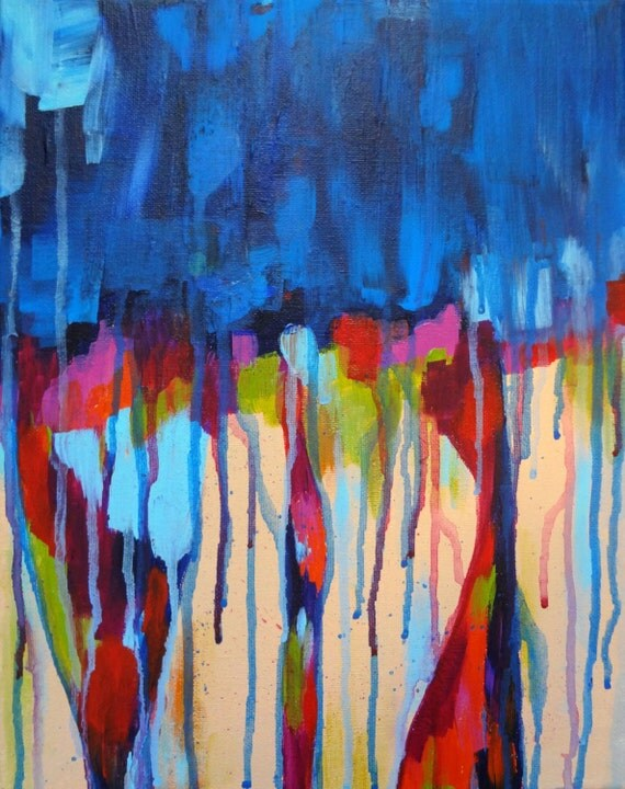 """Original Abstract Acrylic Painting on Stretched Canvas, Colorful Painting, 11""""x14"""", """"Weekend Blues"""""""