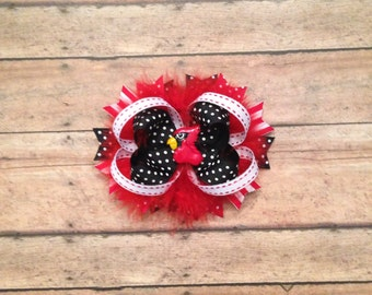 Cardinal Over the Top Boutique Bow Red Black and white Layered Boutique Bow