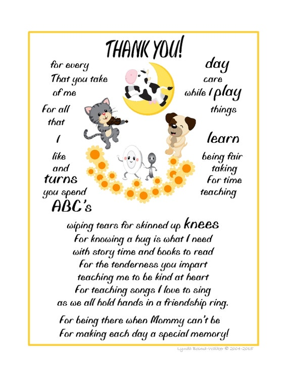 Wall Art Child's THANK-YOU Poem Gift To Their by ...