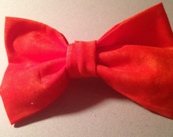Solid Orange Hair Bow with Attached Barrette!