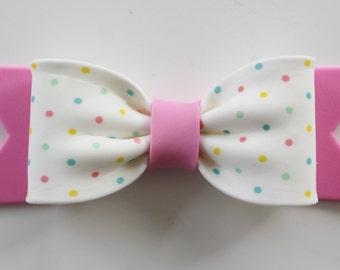 Gum Paste BOW - Pink Polka Dot
