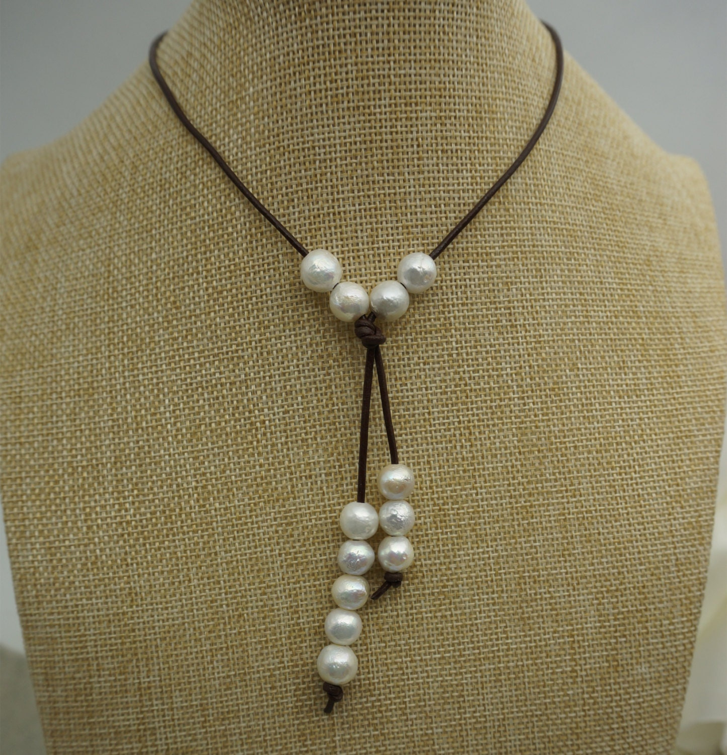 high lusterround pearl necklace pearl leather necklace