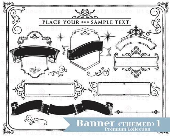 Banner Clip art, Clipart, banner clipart, black and white  clip art,- Instant download digital clip art