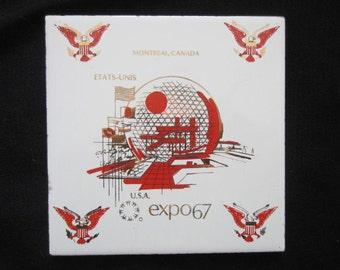 Mid Century Modern EXPO 67 USA Pavilion Montreal Canada Tile/ Trivet Souvenior Of USA Pavilion