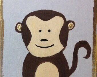 Baby Monkey Painting - 5x5 perfect for nursery!