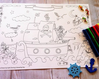 sale: pirate coloring poster, drawn fairy poster, coloring posters by gula