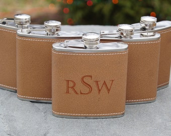 Set of 6- Personalized Groomsmen Flask Wedding Gift, Leather Wrapped Flask