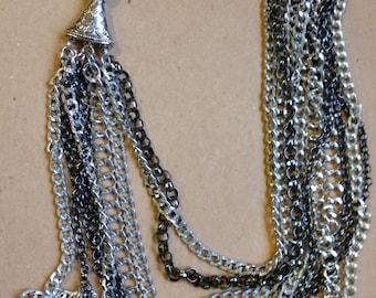 Chain necklace /  silver and black chain necklace/ gothic necklace/ handmade necklace