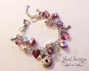 Handmade Heartlinked Sterling Silver Swarovski Charm bracelet