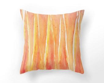 yellow home decor DECORATIVE THROW PILLOW, tangerine pillow case, watercolor throw pillow, orange aquarelle pillow, yellow cushion cover,