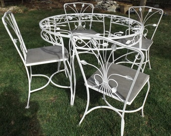 wrought iron white garden patio table 4 chairs ivy detail garden