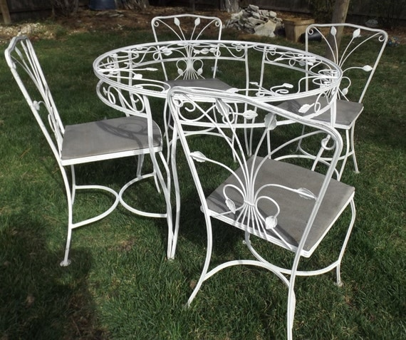 White wrought iron table and chairs cast iron patio for White wrought iron furniture